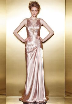 Satin A line V Neck With Sash/ Ribbon Sleeveless Floor Length Bridesmaid Gowns