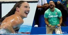 Katinka Hosszu's husband certainly goes insane when she is competing.