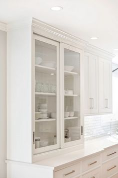 The Perimeter Cabinets Are A Warm White By Pennville Called U201cCottonballu201d.  Notice The · Sliding Cabinet DoorsGlass Kitchen ...