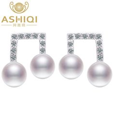 ASHIQI 925 Sterling Silver earrings Natural Freshwater Pearl Music notes. stud Earring For Women Fine Jewelry