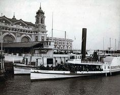 Immigrants Arriving on Barges at Ellis Island ca 1905