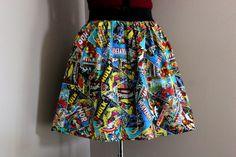 Marvel Comics, Womens Skirts, Geekery, Geek Clothing, Colorful Marvel Comics Superhero Skirt