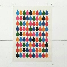 Drops  A3 handmade screenprint on canvas by summersville on Etsy