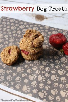 Strawberry Dog Treats - Homemade Dog Treats Try instead half banana and strawberry on my dog treat recipe Puppy Treats, Diy Dog Treats, Homemade Dog Treats, Dog Treat Recipes, Healthy Dog Treats, Dog Food Recipes, Organic Dog Treats, Natural Dog Treats, Dog Treats Grain Free