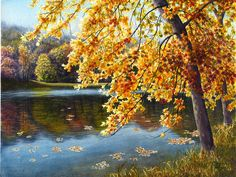 Autumn lake landscape watercolor painting print by Cathy Hillegas, 12x16, October Reflections, yellow, orange, red, green blue, brown, black