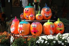 (painted pumpkins) *We did some of these faces on small pumpkins, a minion, witch and a scarecrow on 3 large pumpkins*