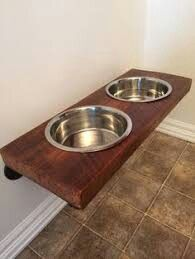 Classy dog food bowl shelf