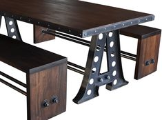 A Frame dining table with mahogany benches, restaurant furniture, by Vintage Industrial in Phoenix...