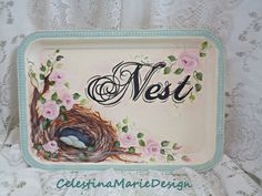Nest and Roses, Hand Painted Decorative Metal Tray, Home Decor Accent, Shabby, Cottage Distress, Original Design, ECS by CelestinaMarieDesign on Etsy