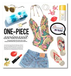 """""""Yep, They're In! The One-Piece"""" by miee0105 ❤ liked on Polyvore featuring Havaianas, Wildfox, Levi's, Sophia Webster, Fendi, Tony Moly, Clinique, Dolce&Gabbana, NARS Cosmetics and onepieceswimsuit"""