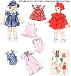 """SEWING PATTERN Simplicity 3879 12""""-22"""" Baby Doll DRESS COAT HAT CLOTHES WARDROBE"""