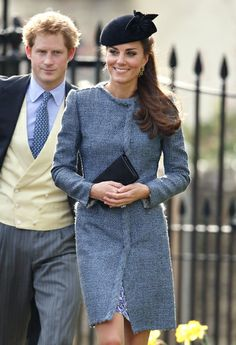 March 30, 2014-Prince William and Kate Middleton attend close friends' wedding in Marshfield, Gloucestershire over the weekend.  The ever fashionable Kate chose a recycled outfit, donning a Whistles Bella blue and white floral dress she had worn at the London 2012 Olympics closing ceremony. She wrapped up in a tweed coat by M Missoni, which showed off her svelte figure.