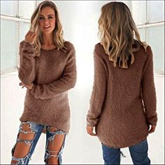 Clearance Sale! Women Sweater,Canserin Womens Casual Long Sleeve Jumper Autumn Winter Sweater Tops 10 Colors Size US 4-14 (2XL, Coffee)