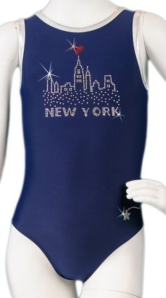 New York Skyline - we made this leotard for the #manhattanclassic meet! What a fun souvenir it was for the girls who had traveled from out-of-state for the meet! #custom #leotard #gymnastics