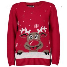 Boohoo Amy Kids Reindeer Christmas Jumper ($20) ❤ liked on Polyvore featuring tops, sweaters, red, chunky knit sweater, red christmas sweater, red turtleneck sweater, knit sweater and knit turtleneck sweater