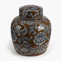 MANDALAY CERAMIC JAR - BROWN