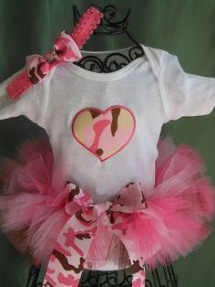 Newborn Pink Camo Tutu w/Onesie & Headband by by ILoveYouTutuMuch, $20.99