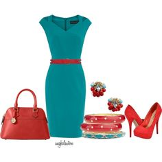 Turquoise with Red (Jade poly split shoulder dress $17)