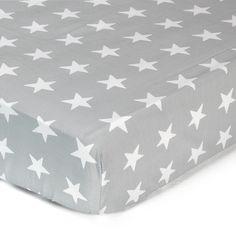 I love NY Drap housse 90x200cm en coton gris motifs étoiles