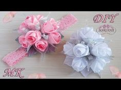 Роза из лент . Повязка на голову с букетиком роз. Канзаши МК/DIY - YouTube