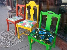 bright and colorful chairs.  Real Milk Paint and Websters Chalk Paint Powder #Studio11boutique