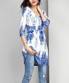 White & Blue Floral Empire-Waist Tunic Dress