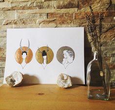 #art #etsyshop #etsy #goldleafimitation #goldleaf #copperleaf #silverleaf #illustration #gold #lady #artofgold #metallicleaf #hornylady #trio #originalart