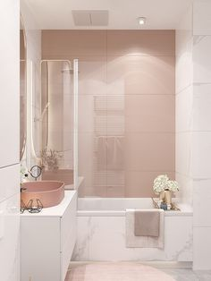 44 Girly And Feminine Bathroom Design Ideas That Are Beautiful Feminine Bathroom, Small Bathroom, Girl Bathrooms, Bathroom Design Luxury, Modern Bathroom Design, Modern Bathtub, Dream Rooms, House Rooms, Bathroom Inspiration