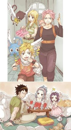 Lucy, Natsu, couple, Gajeel, Levy, kid, son, daughter; Fairy Tail