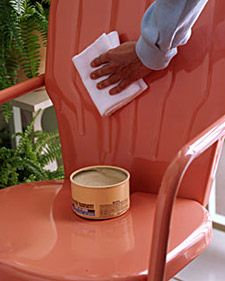 The same carnauba paste wax that maintains a car's finish does a dynamite job on painted metal furniture. Once a season, apply an even coat with a damp terry cloth towel to furnishings; let dry, then lightly buff with a soft cotton rag. The wax will repel water, preventing rust, and also restore luster to dull paint.
