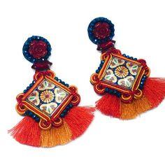 One+of+a+kind+Tassel+earrings+Ceramic+earrings+Soutache