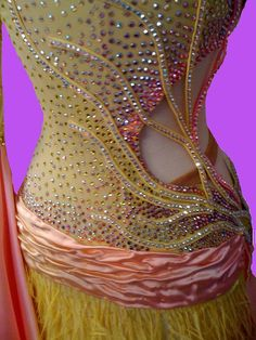 yellow and pink ball gown for dance competition by DesignByNatasha