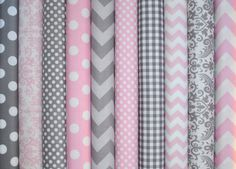 Gray and Baby Pink Fat Quarter Bundle of Chevron, Dots, Damask, Gingham of… Baby Girl Quilts, Girls Quilts, Grey Fabric, Baby Quilt Patterns, Gris Rose, Pink Grey, Gray, Purple, Nursery Decor