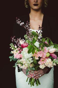 Blush and green bridal bouquet | Chantel Marie Photography | see more on: http://burnettsboards.com/2014/06/edgy-femininity-black-blush-wedding/