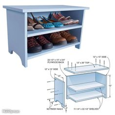 Shoe Storage Booster Stool - Provided by The Family Handyman Small Woodworking Projects, Woodworking Shop, Woodworking Plans, Woodworking Crafts, Woodworking Square, Woodworking Beginner, Woodworking Classes, Bench With Shoe Storage, Shoe Bench