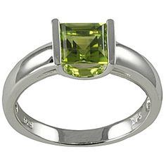 This simple setting is gorgeous.    Gems For You Sterling Silver Princess-Cut Peridot Ring
