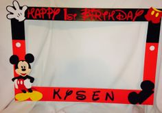 photo frame party prop Mickey, minnie mouseto take pictures at party photobooth Mickey Mouse Birthday Theme, Mickey Mouse Clubhouse Party, Mickey Mouse Parties, Mickey Party, 1st Boy Birthday, 2nd Birthday Parties, Birthday Ideas, Party Photo Frame, Party Frame