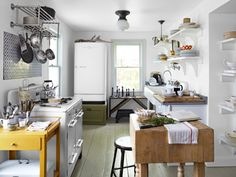 No room for a #kitchen island? Try decorating with an antique butcher block for extra cooking space. #decor