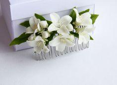 Hair Comb, Bridal Hair, Bridal Hair Accessory, Bridal Hair Clip, jasmine flower, Flower Hair Comb, Flower Bridal Comb - pinned by pin4etsy.com
