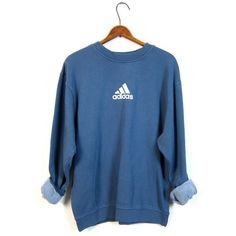 Blue ADIDAS Sweatshirt Washed Out Distressed Athletic Pullover Sweater... ($30) ❤ liked on Polyvore featuring tops, adidas sweatshirt, blue top, blue pullover, adidas pullover and sports pullovers