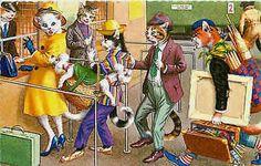 Eugen Hartung Artist Signed Mainzer Dressed Cats Dogs Bite Cats Vintage Postcard - Moodys Vintage Postcards - 1