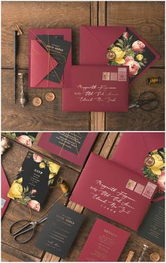 Looking for elegant and original way to invite your guests for the most important day of your life?  Marsala & Black color scheme wedding invitations with floral printing of peach and yellow garden roses will, for sure, impress your family and friends! #wedding