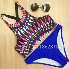 2016 New Fashion Women Print Sexy Patchwork Push up Bikini Set Retro Swimsuit Brazilian Swimwear Beach Bathing Suit Size S,M,L