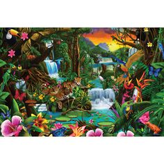 Needlework diy diamond painting diamond embroidery landscape tropical forest square drill full pictures of rhinestones Jungle Art, Digital Artwork, Cool Artwork, Larger Piece Jigsaw Puzzles, Fine Art America, Painting, Art, Jungle Scene, Pictures