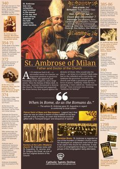 Saint of the Day – 7 December – St Ambrose (c – Father and Doctor of the Church Today the Catholic Church celebrates the memory of St Ambrose, the brilliant Bishop of Milan who influenced St Augustine's conversion and was named a Doctor of the Church. Catholic Quotes, Catholic Prayers, Catholic Saints, Roman Catholic, Catholic Priest, Patron Saints, St Ambrose, Early Church Fathers, Holy Spirit