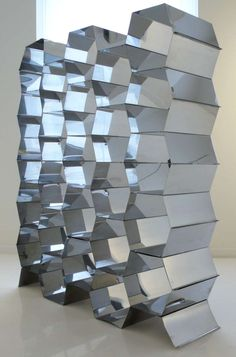 Anonymous; Crimped and Riveted Aluminum Room Divider, 1970s.