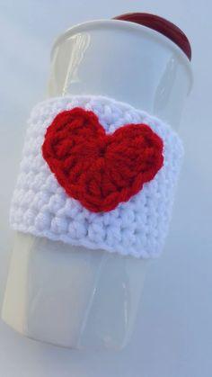 Cup Cozy Heart Cup Cozy Love Cup Cozy Heart Cozy by AJsCrochets