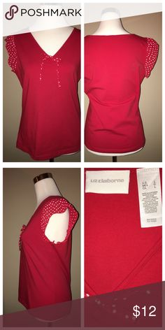 Liz Claiborne Red & White Top 92% Cotton 8% Spandex.  Please see other listings in my closet!  I only list new or EUC pieces that are clean and snag, stain and flaw-free (unless otherwise stated).  Only items that I'd be happy to own myself!  Any questions, just ask!  And I do bundle!  🛍 Happy Poshing! Liz Claiborne Tops