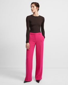 Wide Trouser in Crepe Magenta, Japanese Crepes, Wide Trousers, Pink Pants, Jacket Dress, Wide Leg, Menswear, Fashion Outfits, Kleding
