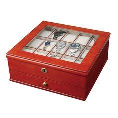 Mele & Co. Chris Locking Wooden Watch Box in Walnut By Mele & Co